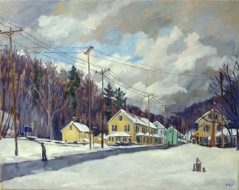 Mill Houses, Berkshires Snow. Winter Landscape Painting, Realist Oil on Canvas, 16x20 Plein Air Impressionist Fine Art, Signed Original