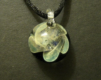 Galaxy Pendant Boro Glass Lampworked Silver Fumed Pendant Necklace
