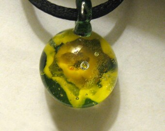 Glass Pendant Boro Daffodil Implosion Lampworked Focal Bead