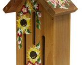 Natural Stained Butterfly House with Hand Painted Sunflowers