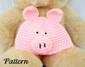 Baby and toddler pig hat PDF crochet PATTERN 6-36 months farm animal beanie infant photography prop costume accessory animal head covering
