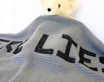 Crochet gravestone afghan tombstone throw blanket grey gray black letters personalized morbid bedding Halloween house decor humor funny