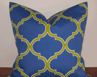 SALE ~ Outdoor Decorative Pillow:  18 X 18 Decorator Accent Outdoor Pillow Cover in Large Trellis Royal Blue and Lime Design