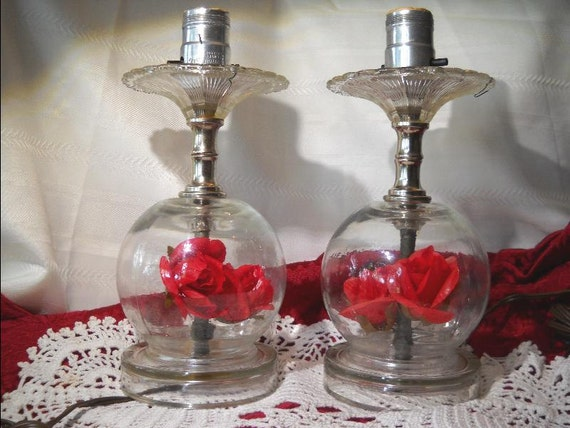Vintage Glass Globe Table Lamps With Plastic Flowers Inside
