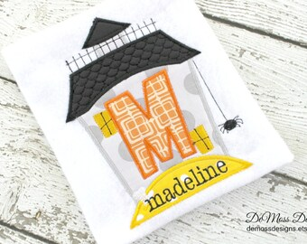 Personalized Halloween Shirt, Haunted House,  Appliqued, Short or Long Sleeve,  Totally Custom, Name Embroidered