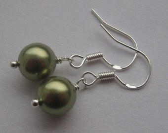 Simple Light Green 8mm Swarovski Pearl Sterling Silver Earrings