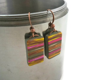 Unique and colorful  dangle earrings striped clay