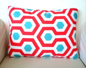 OUTDOOR Lumbar Pillow Cover, Throw Cushion, Turquoise Aqua Coral Red White Magna Calypso, Patio Cottage Pillow, One 12 x 16 or 12 x 18
