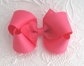 "Toddlers ~ Girls 4"" Hot Pink Boutique Hair Bow"