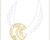 "Instant Download  ""Golden Snitch"" Harry Potter Seeker .PES, .HUS, .JEF, Machine Embroidery Design"
