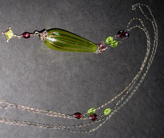 Lovely Vintage Peridot and Garnet Opera Length Necklace with Venetian Glass Pendant