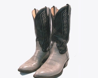 Mens Tony Lama Western Boots Vintage Preowned Two Tone Rustic Southwestern Boho Rockabilly Cowboy Boots Made in the USA Mns US size 9 1/2