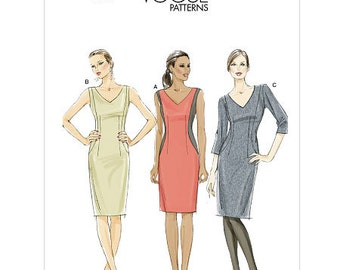 Sz 6/8/10/12 Vogue Dress Pattern V8666  - Misses' Sheath Dress in Three Variations
