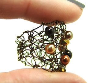 Pearl Ring , Copper Wire Ring , Brown Swarovski Pearl , Wire Knit Jewelry , Brown Stone Beaded Ring , Fall Jewelry , Autumn Jewelry