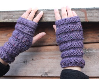 Handknit mittens womens, wooly gloves, fingerless wrist warmers, purple, autumn gloves