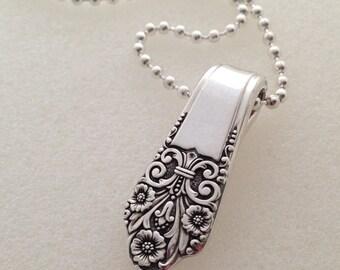 """Silver Pendant. """"Precious"""" Spoon Pendant. Silverware Jewelry."""