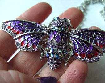 Lovely, Cicada, moth, butterfly, Necklace, Brooch , PURPLE and red, crystal, by NewellsJewels on etsy
