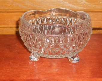 Vintage Clear Indiana Glass Footed Bowl/Candy Dish With Diamond Point
