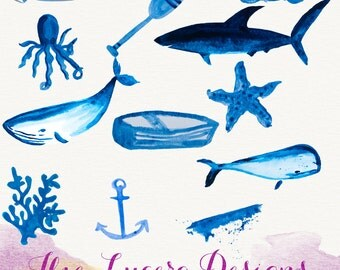 PNG watercolor nautical doodle clip art, overlays, digital embellishments