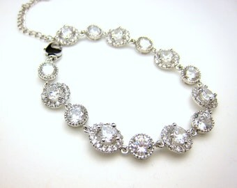 bridal bracelet wedding jewelry prom party gift christmas bridesmaid rhodium white gold halo pave Clear white round cubic zirconia bracelet