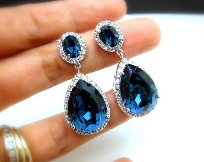 CLIP-ONS wedding jewelry bridal christmas bridesmaid prom party gift Clear white teardrop cubic zirconia NAVY blue crystal on oval cz post