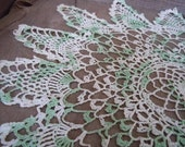 Vintage Doily Crochet Green and Cream Handmade Romantic Home Decor French Farmhouse Accent