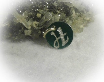Letter H Hand Engraved Green Personalized Small  Charm 1/2 inch