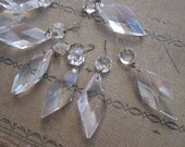 4 vintage chandelier crystals - DIAMOND shape
