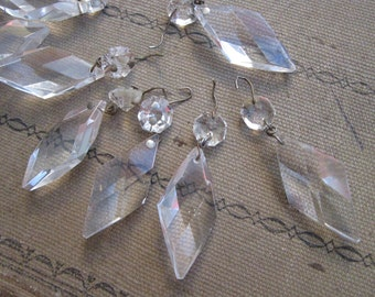 4 vintage chandelier crystals - DIAMOND shape