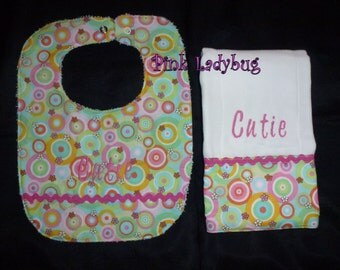 Bib and Burp Cloth Set/Spring Circles Embroidered with Cutie is Ready to Ship
