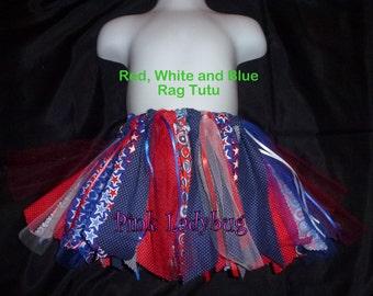 Red, White and Blue Scrap Rag Tutu Patriotic Tutu July Fourth Tutu is Ready to Ship
