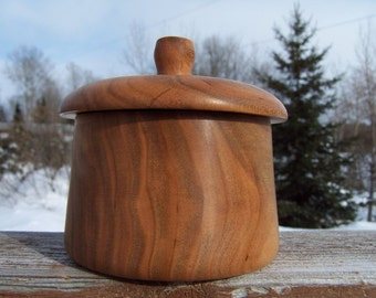 Round Lidded Box of Beautifully Grained Black Cherry Wood