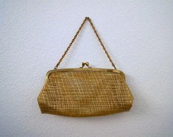 Vintage 50s Clear Plastic Purse with Gold Metallic Plaid Accents / 1950s Clear Vinyl Handbag Woven Gold Design