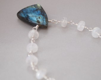 Labradorite Blue Fire Moonstone Sterling Silver Necklace