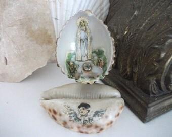 Antique Italian Religious Shell Art