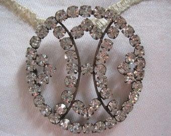 Vintage Rhinestone Appliqué Sew On Sash Buckle Bridal Belt Buckle Wedding