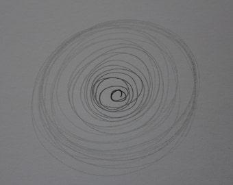 """Pencil drawing """"Energy"""" grey sketch ORIGINAL art by FEW A5 Abstract modern minimalist decor"""