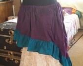 Peacock XLong Cotton Wenchling Hi Lo High Low Skirt Asymmetric Ruffled Wench Steampunk Mori Girl