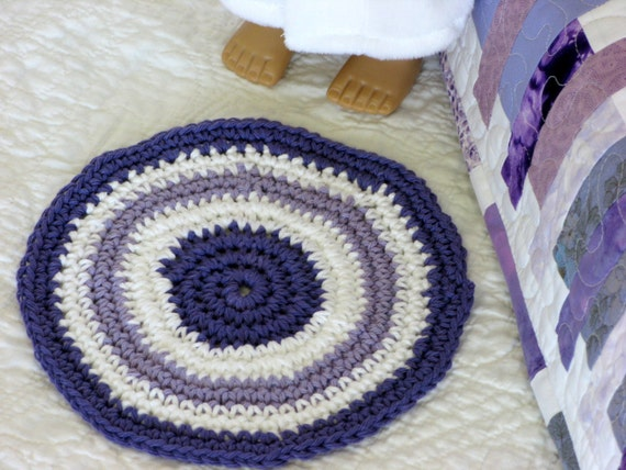 Star Wars Crochet Dolls Free Pattern : Crocheted Doll Rug Reversible Circle Rug Round by ...