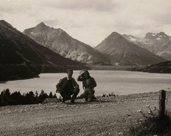 Vintage Photo - Young Couple by a Lake in the Mountains