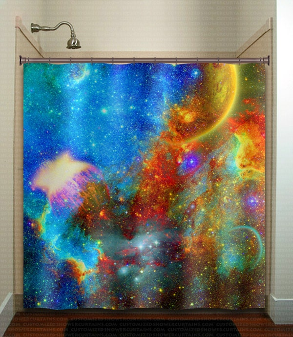 Rainbow nebula planet outer space galaxy shower by for Decor outer space