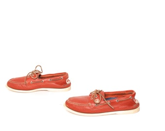 mens size 10 SPERRY top-sider RED LEATHER 80's boat shoe loafers