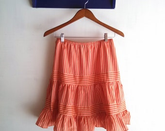 1990s Anna Sui Can Can Punk Burlesque Tiered Striped Red and Pink Skirt w/ Ruffled Edge size Small 2