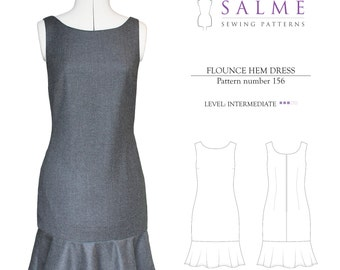 PDF Sewing pattern - Flounce Hem Dress