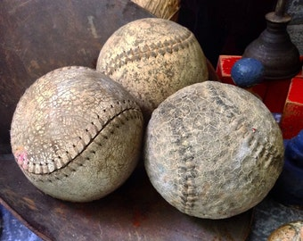Leather Soft Balls / Weathered / Set of Three