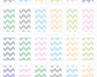 Chevron Softl Colors Image Sheet 1 inch by 2 inch Rectangles Personal and Commercial Use