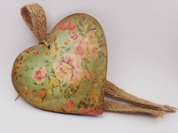 Rose teal wooden heart ornament shabby chic