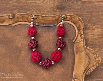 Dark red fabric and crochet beads necklace, textile necklace, textile jewelry, Statement Necklace, Unique Gift for Her