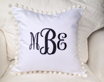 Monogrammed Pique Pom Pom Pillow Cover