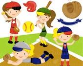 Girls Softball Cute Digital Clipart - Commercial Use OK - Softball Graphics, Softball Clipart - INSTANT DOWNLOAD